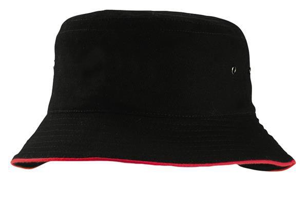black red bucket