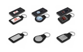 Leather Chrome Keyrings
